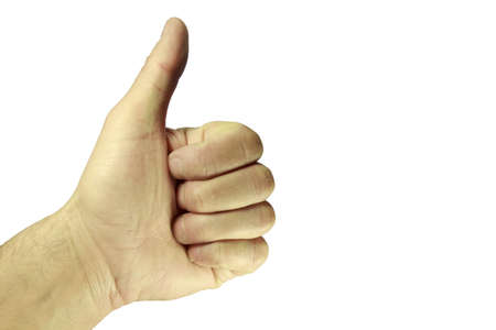 The hand with the thumb up, isolated on white background Stock Photo - 12577081