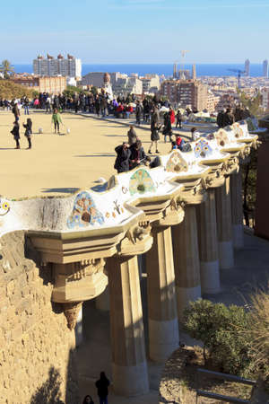 Park Guell, designed by the famous architect Antonio Gaudi, Barcelona España