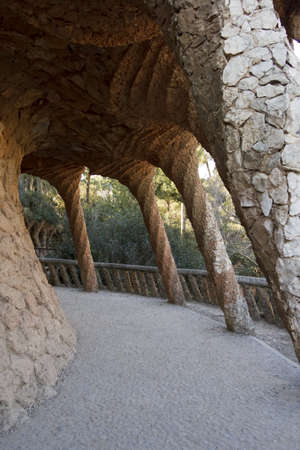 Park Guell, designed by the famous architect Antonio Gaudi, Barcelona Espa�a