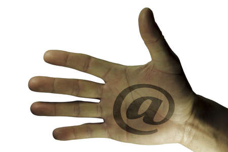 Hands at sign arroba for the company, isolated photo
