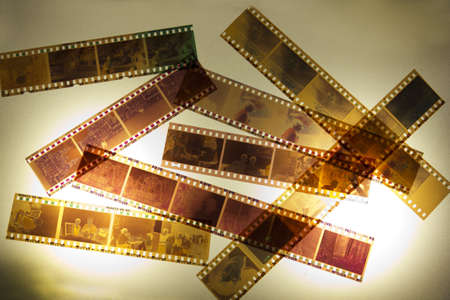 Ancient 35mm film for textures and backgrounds photo