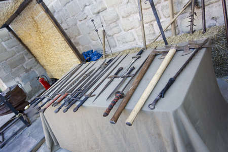 ready for war: Ancient medieval weapons ready for war Editorial