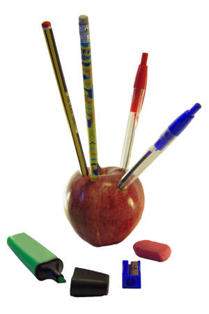 Box of pencils red apple with white background photo