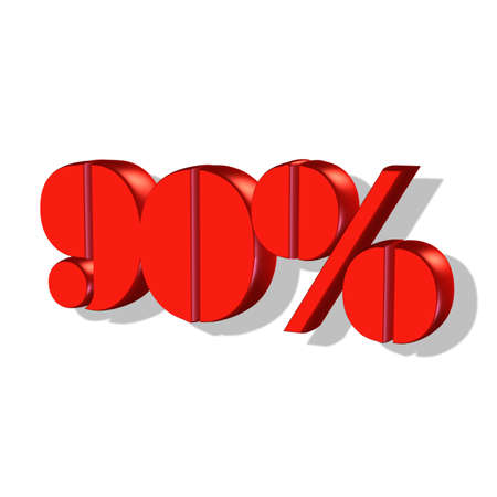 Ninety percent number 3D isolated on white  90  photo