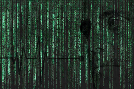 Matrix style background, green and black  Embossed  face and cardiogram Stock Photo
