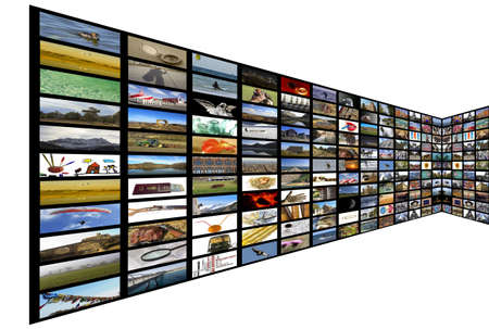 Media room with plasma TV on perspective, white background Stock Photo