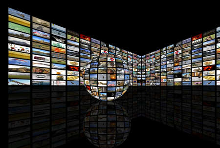 Media room with plasma TV on perspective and reflection on floor, blac background Stock Photo