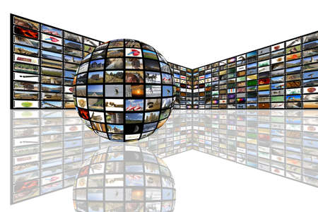 Media room with plasma TV on perspective and reflection on floor Stock Photo - 13104411