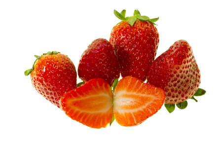 Delicious fresh strawberries isolated on a white background photo