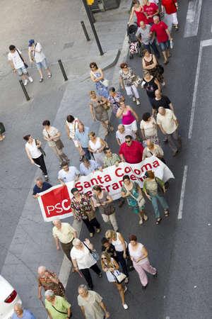 public health: BARCELONA, SPAIN - JUNE 28: Protest against cuts in public health on June 28, 2012 in Santa Coloma de Gramanet, (Barcelona), Spain.