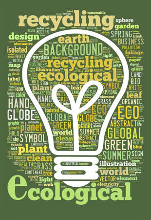ecological concept of bulb, word Cloud Stock Photo