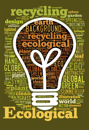 ecological concept of bulb, word Cloud photo