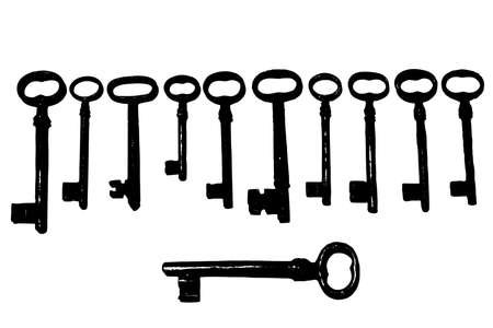 The Old and rusty keys Illustration