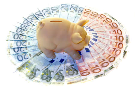 Piggy bank and money saving concept to the crisis photo