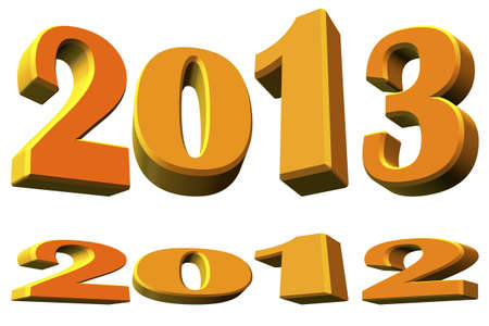 New year 2013 and about the year 2012 on white background photo