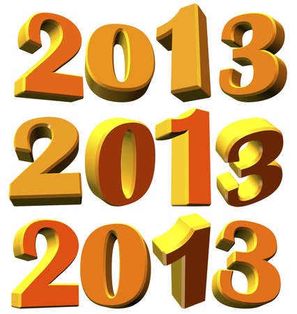 Different 3D models of the new year 2013 on white background