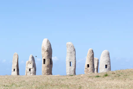 megalith: These menhirs are a symbol of Celtic culture in Galicia, Spain