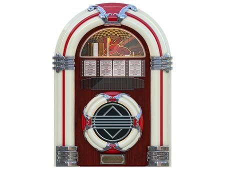 jukebox rockola muziekmachine uit een bar geïsoleerd 3D-rendering Stockfoto