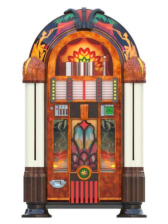 jukebox rockola muziekmachine uit een bar geïsoleerd 3D-rendering