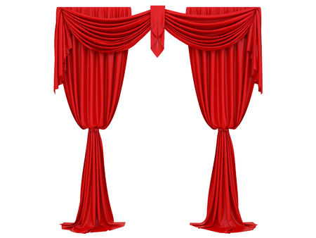 red curtain of a theater on a white background 3d rendering
