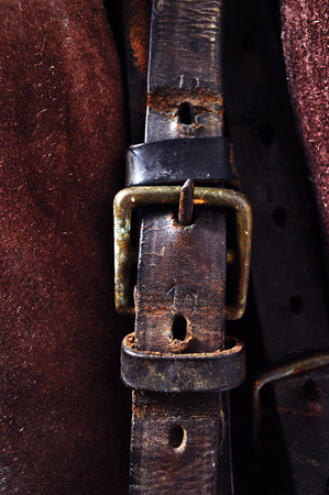 strap on: old leather strap