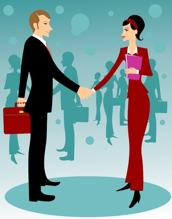equal opportunity: Business man and woman hand shaking