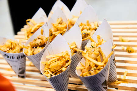 Cornets of chips ready for eat