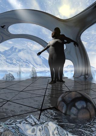 skullcap: people in the process of meditation in a scenario of winter fantasy Stock Photo