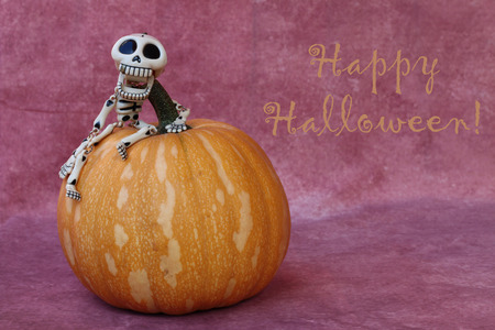 Happy Halloween concept with a pumpkin and a mini skeleton