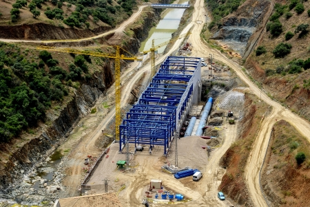 powerhouse: Construction of the powerhouse of hydroelectric plant along the Guadiato river under the dam La Brana, Almodovar, Cordoba, Spain