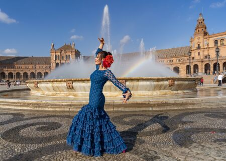 Spanish woman dancing flamenco in Seville, Andalusia, Spain.