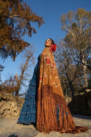 Spanish woman dancing flamenco in Seville, Andalusia, Spain.