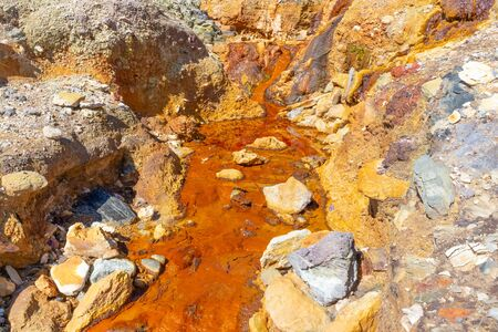 The Rio Tinto in the province of huelva, Andalucia, Spain. It is an incredible landscape that has studied for its similarity to the planet Mars. It was stolen by an English mining company.