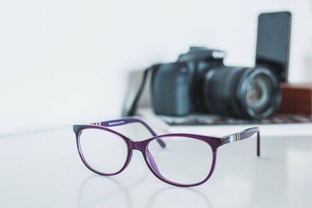 Glasses with camera and phone Фото со стока