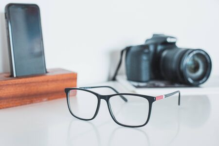 Glasses with camera and phone Stok Fotoğraf