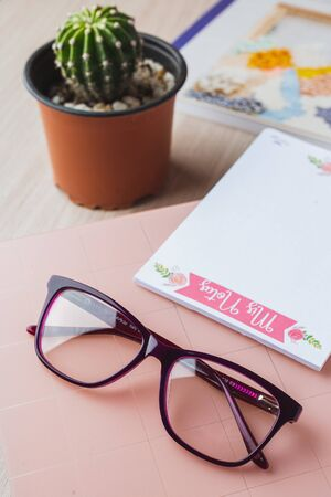 Woman glasses with planner and plant Stok Fotoğraf