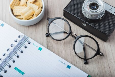 Woman glasses with planner, cookies and camera