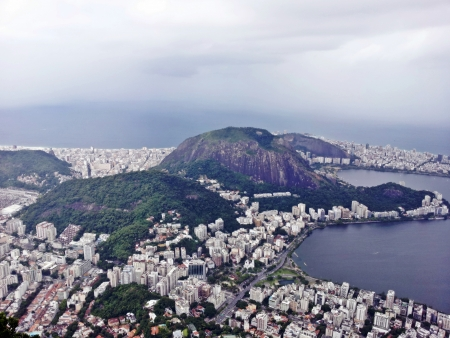 fantastic view:  Rio de Janeiro, fantastic view of the most beautiful city in the world, a combination of jungle, modern buildings and the favela, aerial view 3