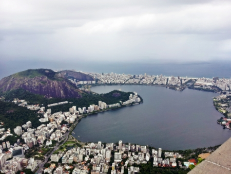 fantastic view:  Rio de Janeiro, fantastic view of the most beautiful city in the world, a combination of jungle, modern buildings and the favela, aerial view 2