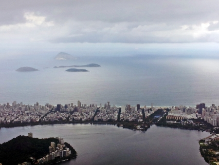 fantastic view:  Rio de Janeiro, fantastic view of the most beautiful city in the world, a combination of jungle, modern buildings and the favela, aerial view Stock Photo