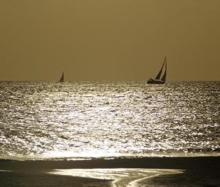 ship at sea, beautiful sunset  photo