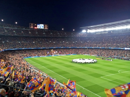 football stadium, Barcelona, full of people, Editorial