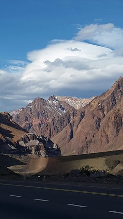 lenticular: highest mountain in the Andes Mountains. Argentina, beautiful routes through the highest peaks of america