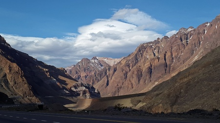 lenticular cloud: highest mountain in the Andes Mountains. Argentina, beautiful routes through the highest peaks of america