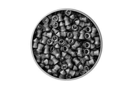 pellet gun: Aerial view of an aluminum can of airgun lead pellets isolated on white background with clipping path