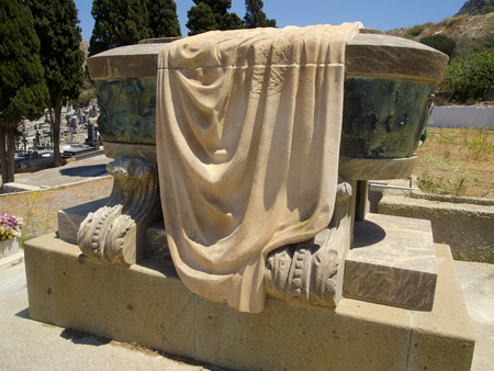 isaac: Isaac Peral grave in the cemetery of Cartagena, Spain Stock Photo