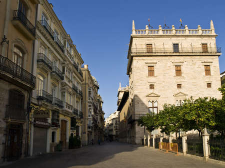 generalitat: Pedestrian street of the historic center of Valencia (Spain), where you can see the palace of the Autonomous Government, called the Palace of the Generalitat
