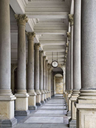karlovy: Columns of one of the palaces located in the spa town of Karlovy Vary in the Czech Republic Stock Photo