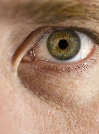 ojos verdes: Close up vista del ojo verde de un hombre mirando c�mara
