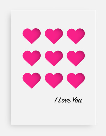 Cut the pink heart on the paper and a white background. Card for valentine's day, birthday, anniversary, party invitations, Wedding and other. Vector illustration Ilustração